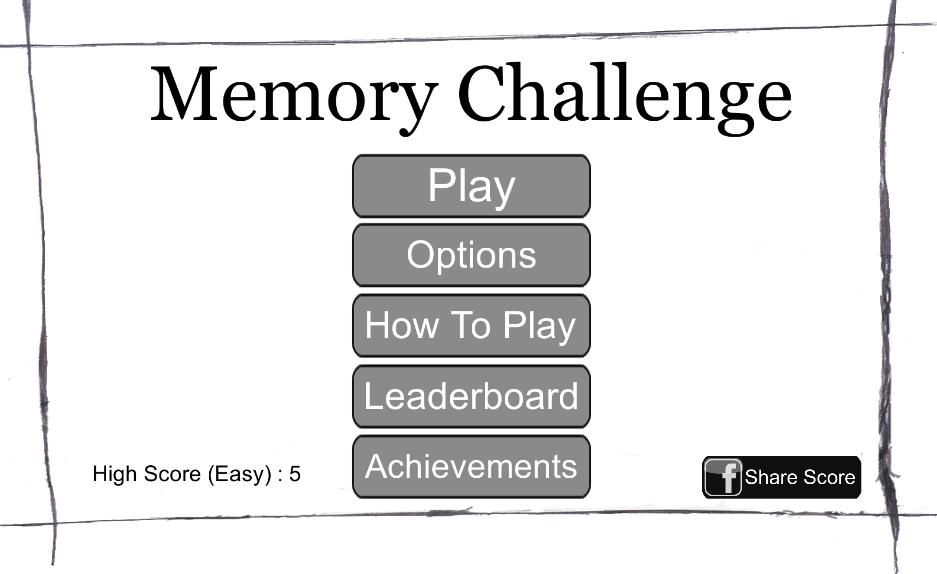 Memory Challenge Menu